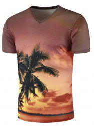 3D Afterglow Tree Print V Neck T-Shirt