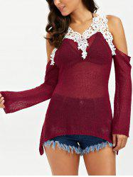 Lace Insert Asymmetric Cold Shoulder Cover Up - WINE RED