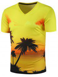 3D Sunset Glow Print V Neck T-Shirt