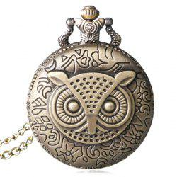 Carved Owl Number Vintage Pocket Watch - COPPER COLOR