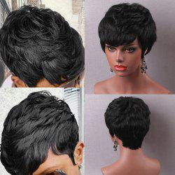 Short Straight Layered Cut Capless Human Hair Wig - JET BLACK #01