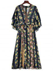 Bell Sleeve Floral Print Belted Chiffon Dress -