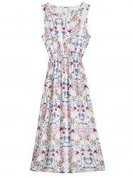 Sleeveless Floral Printed Mid Calf Dress