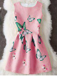 Butterfly Print Embossed Sleeveless Mini Dress - WATERMELON RED