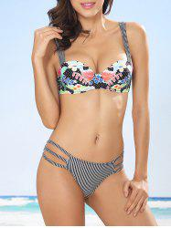 Floral Stripe Push Up Bikini