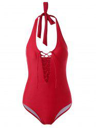 Lace Up One-Piece Padded Bra Swimsuit