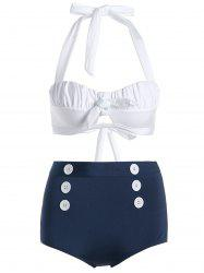 Vintage Halter Buttoned High Waisted Bikini - BLUE/WHITE L