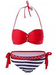 Knit Trim Striped Halter Bikini Set