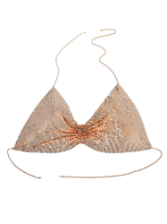 Chain Paillettes Body Bra - Or
