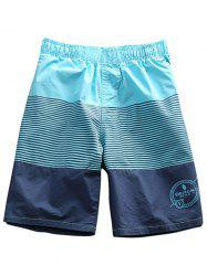 Drawstring Waist Striped Board Shorts - SKY BLUE