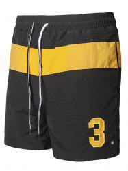 Embroidered Color Block Running Sports Shorts