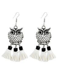 Artificial Leather Tassels Owl Earrings