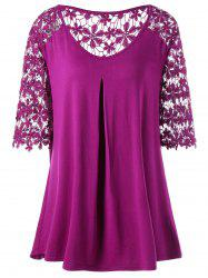 Plus Size Crochet Trim Floral Openwork T-Shirt