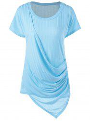 Plus Size Ribbed Overlap T-Shirt