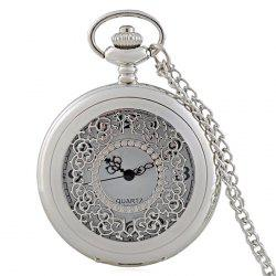Hollow Out Engraved Vintage Pocket Watch - SILVER