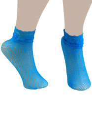 Lace Trim Embellished Fish Net Over Short Ankle Socks