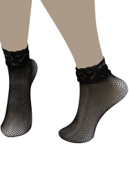 Lace Trim Embellished Fish Net Over Ankle Socks - BLACK