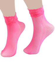 Lace Trim Embellished Fish Net Over Short Ankle Socks - TUTTI FRUTTI