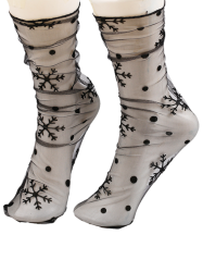 Sheer Lace Socks with Star or Snowflake Jacquard - FULL BLACK