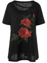 Embroidered Floral Plus Size Casual Long T-Shirt - EBONY XL