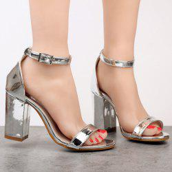 Metallic Colour Ankle Strap Sandals - SILVER