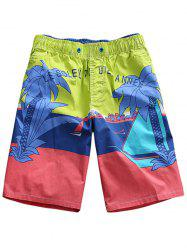 Tree Print Color Block Board Shorts