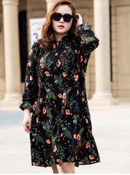 Plus Size Long Sleeves Floral Dress
