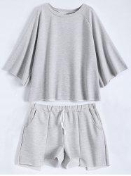 Active Plus Size Top With Asymmetric Shorts Set