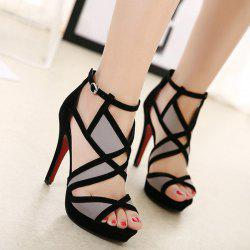 Color Block Buckle Strap Sandals - BLACK
