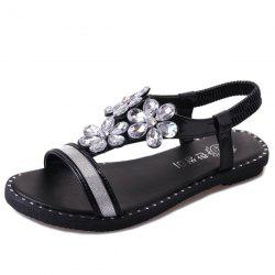 Crystal Flower Elastic Band Sandals