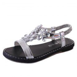 Crystal Flower Elastic Band Sandals - SILVER