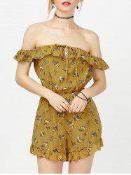 Off The Shoulder Floral Ruffle Romper - YELLOW XL