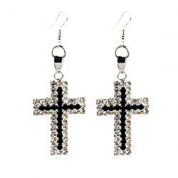 Rhinestone Cross Drop Earrings -