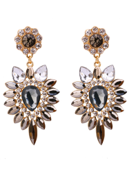 Faux Gem Rhinestone Teardrop Flower Earrings