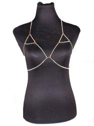 Rhinestone Triangle Bra Beach Bikini Body Jewelry Chain - GOLDEN