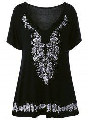 Plus Size Rose Tunic Flowing Top - BLACK