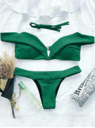 V Plunge Off The Shoulder Bikini Set