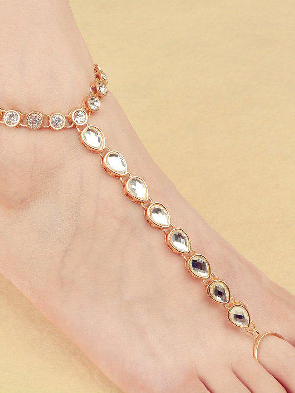 Hot ONE PIECE Rhinestone Teardrop Anklet