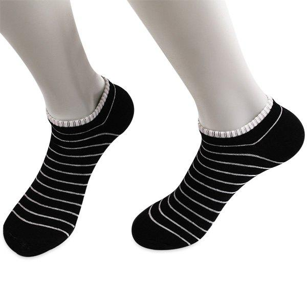 Pinstripe Patterned Elastic Knitting Ankle SocksACCESSORIES<br><br>Color: BLACK; Group: Adult; Gender: Unisex; Sock Type: Casual; Pattern Type: Striped; Material: Polyester; Length(CM): 18.5CM; Width(CM): 8.5CM; Weight: 0.0300kg; Package Contents: 1 x Socks(Pair);