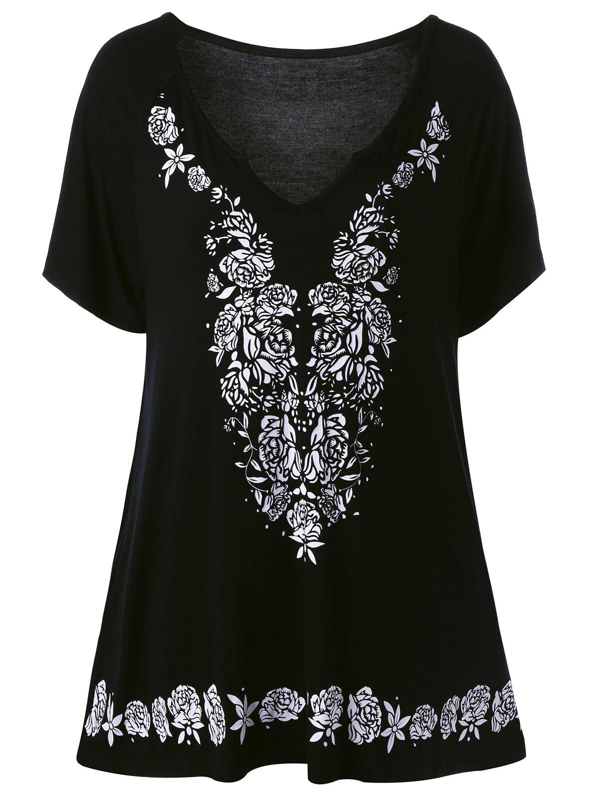 Plus Size Rose Tunic Flowing TopWOMEN<br><br>Size: XL; Color: BLACK; Material: Cotton Blends; Shirt Length: Long; Sleeve Length: Short; Collar: V-Neck; Style: Casual; Season: Summer; Pattern Type: Floral; Weight: 0.4200kg; Package Contents: 1 x Top;