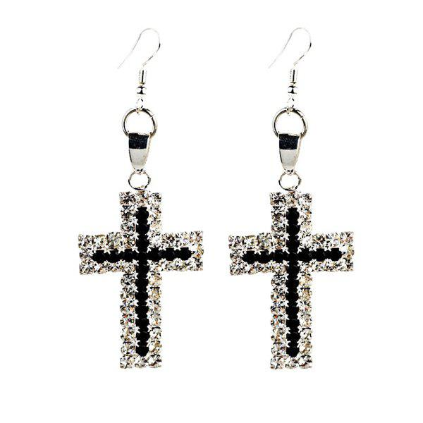 Latest Rhinestone Cross Drop Earrings