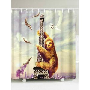 Water Repellent Tower Sloth Shower Curtain - Colormix - W71 Inch * L71 Inch