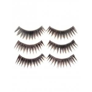 3 Pairs False Eyelashes with Glue - BLACK