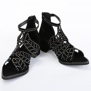 Block Heel Rhinestone Sandals - BLACK 40
