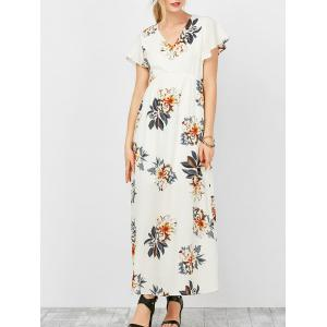 Empire Waist Floral Maxi Summer Dress - White - Xl