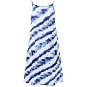 Tie Dye Summer Dress - BLUE AND WHITE L