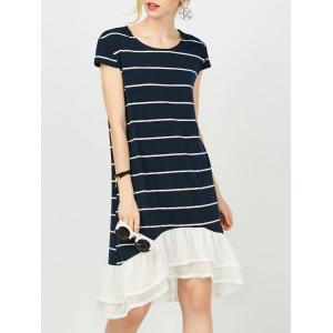 Chiffon Insert Striped T-Shirt Dress