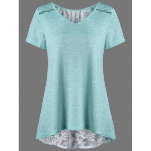V Neck Floral High Low Hem Lace Back T-Shirt