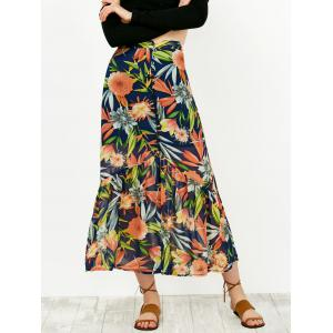 High Waist Floral Print Buttoned Skirt - Colormix - L