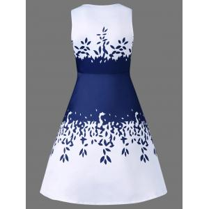 Sleeveless Leaf Pattern Graduation Party Dress -